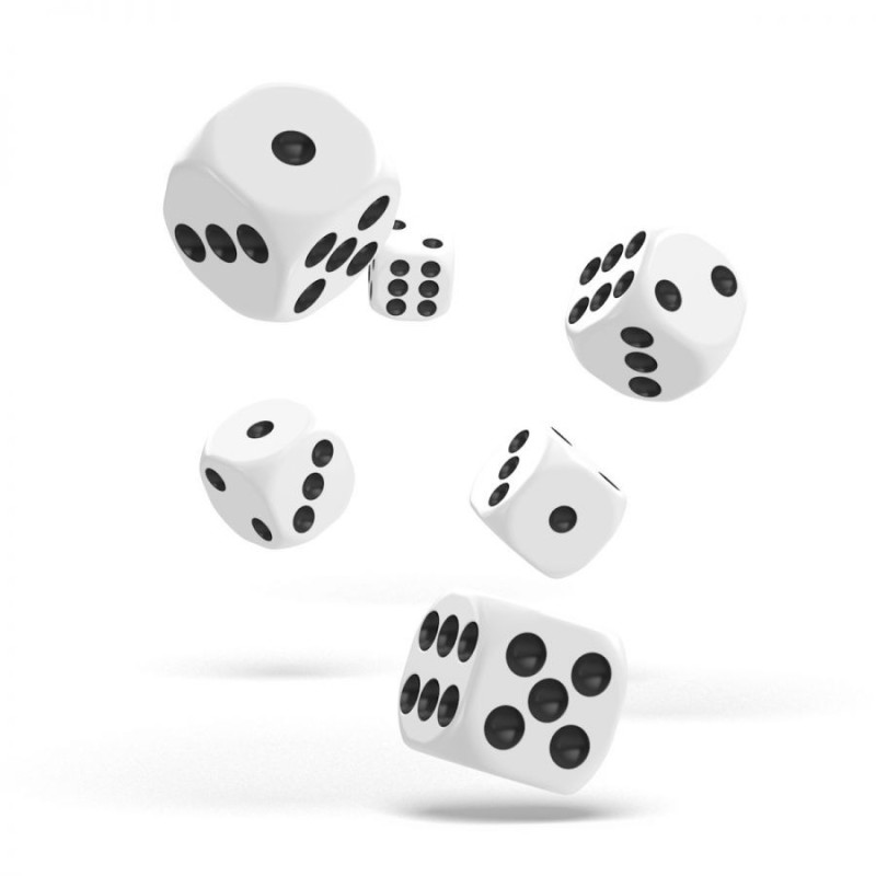 White Dice - Set of 6 dice 6 of 12mm