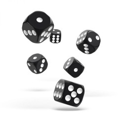 Black Dice - Set of 6 dice 6 of 12mm
